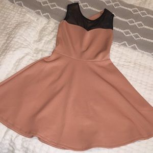 Pink bow tie skater dress